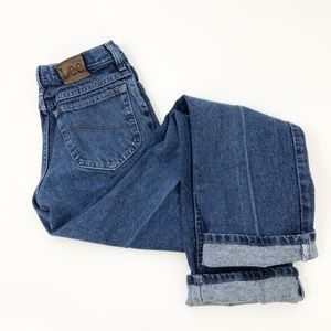 VTG Lee High Rise Mom Jeans Mid Wash Straight Leg